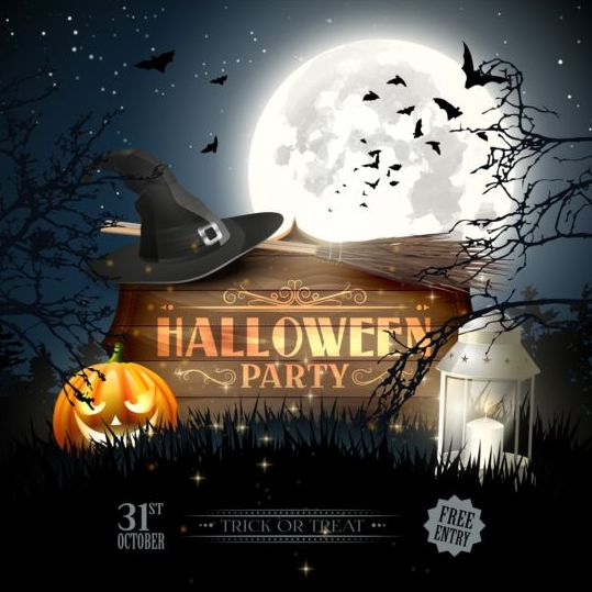 halloween party night vector design free download