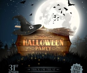 halloween party poster with wooden labels vector