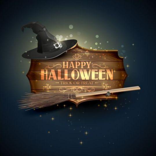 halloween sign and hat with broom vector free download rh freedesignfile com Halloween Pumpkin Vector halloween signage vector