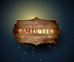 halloween wooden labels vintage vector