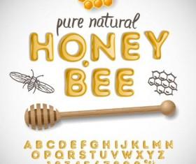 honey bee alphabet with numbers vector