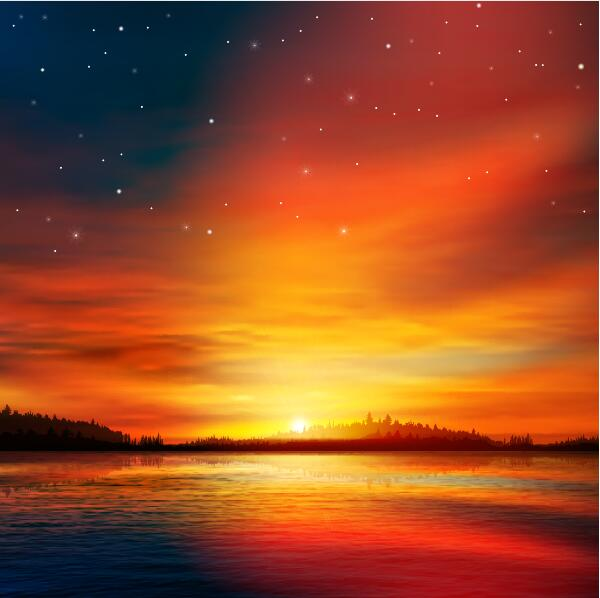 lake landscape with sunset vector 04