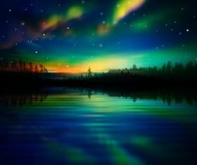 lake night scene vector 05