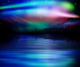 lake night scene vector 06