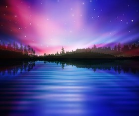 lake night scene vector 07