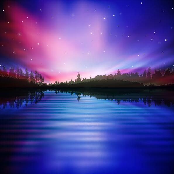 lake night scene vector 07