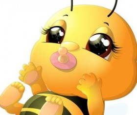 lovely cartoon bee set vectors 19