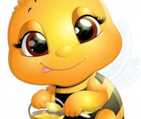 lovely cartoon bee set vectors 20