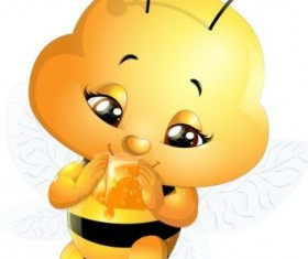 lovely cartoon bee set vectors 21