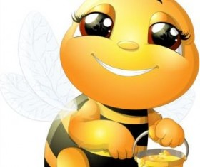 lovely cartoon bee set vectors 22