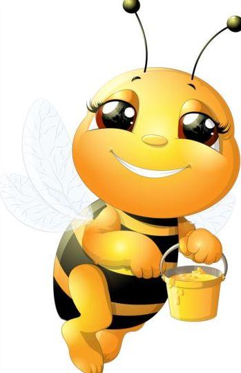 lovely cartoon bee set vectors 22