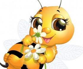 lovely cartoon bee set vectors 24