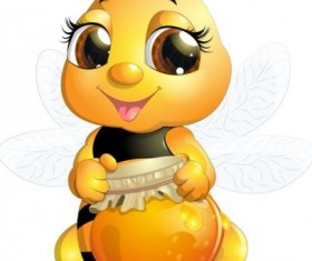 lovely cartoon bee set vectors 25