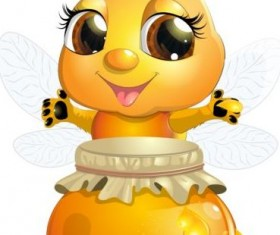 lovely cartoon bee set vectors 26