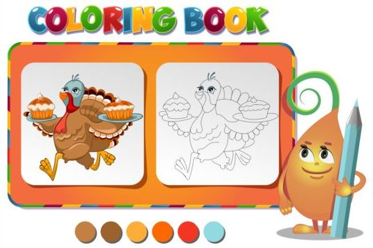 Turkey With Pies Coloring Book Vector