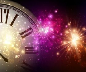 2017 New Year background with spheres clock vector set 05