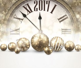 2017 New Year background with spheres clock vector set 06