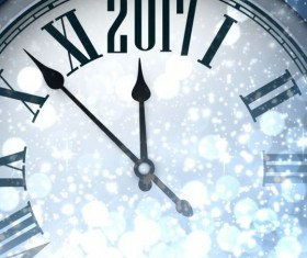 2017 New Year background with spheres clock vector set 07