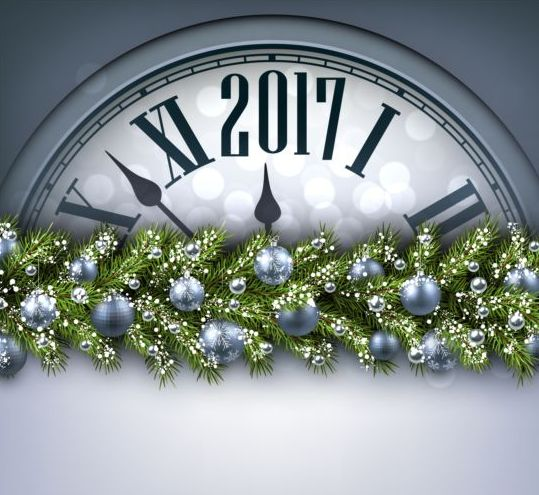 2017 New Year background with spheres clock vector set 08