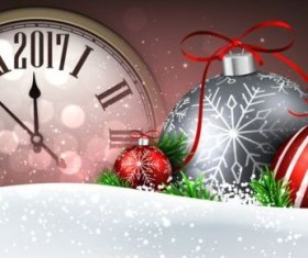 2017 New Year background with spheres clock vector set 09