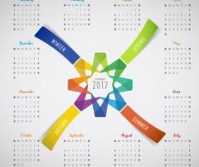 2017 calendar with four seasons vector