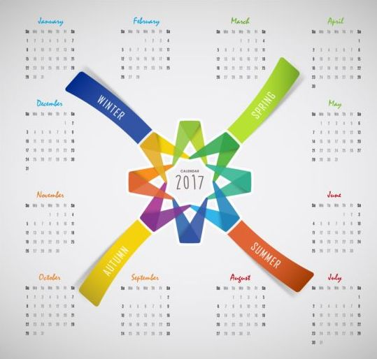 free ai file 2017 calendar with four seasons vector download name 2017 ...