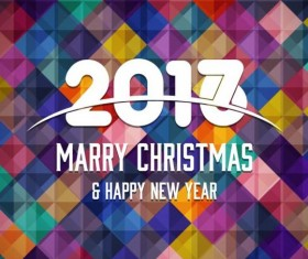 2017 christmas and new year with geometric background vector 01