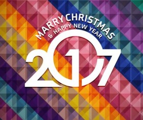 2017 christmas and new year with geometric background vector 02