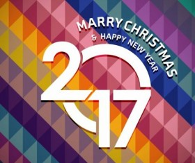 2017 christmas and new year with geometric background vector 03