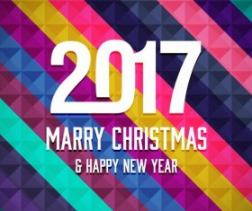 2017 christmas and new year with geometric background vector 04