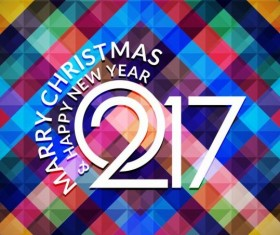 2017 christmas and new year with geometric background vector 05
