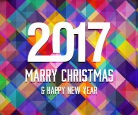 2017 christmas and new year with geometric background vector 07