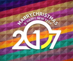 2017 christmas and new year with geometric background vector 09