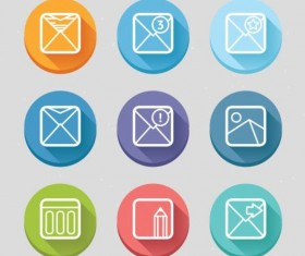 3D ronund email icons vector