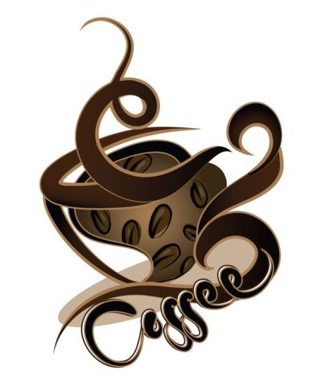 Abstract coffee with cup design vector 06