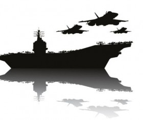 Aircraft carrier silhouetter vector 01