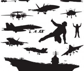 Aircraft carrier silhouetter vector 03