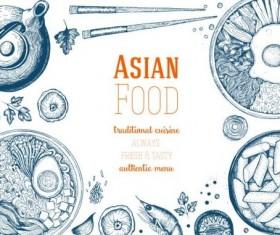 Asian food menu hand drawn vector 01