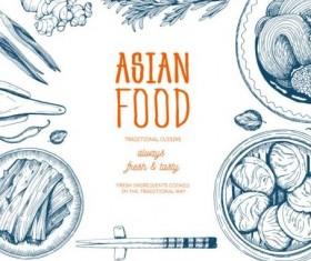 Asian food menu hand drawn vector 02