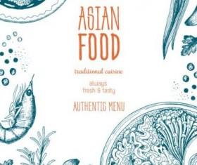 Asian food menu hand drawn vector 04