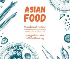 Asian food menu hand drawn vector 05