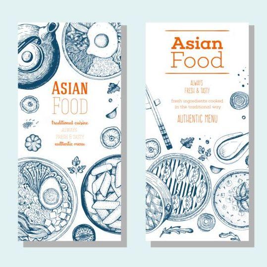 Asian food vertical menu vector material 02