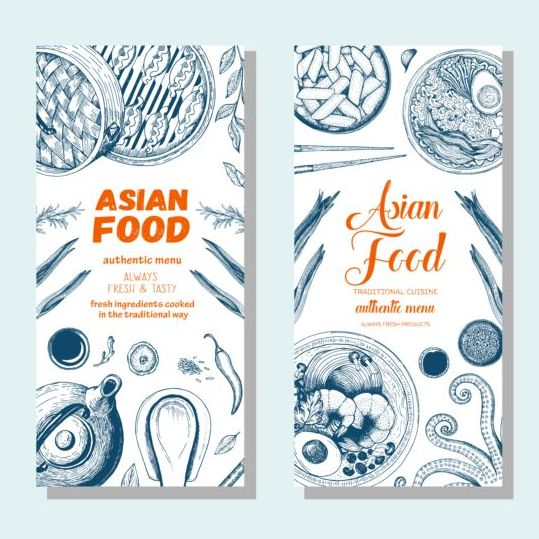 Asian food vertical menu vector material 03