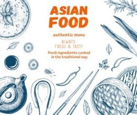 Asian restaurant menu hand drawn vector 02
