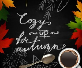 Autumn leaves with coffee and chalkboard background vector 01