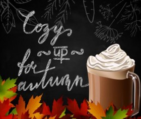 Autumn leaves with coffee and chalkboard background vector 02