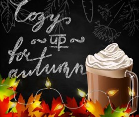 Autumn leaves with coffee and chalkboard background vector 03
