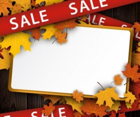 Autumn sale with leaves and wooden background vector