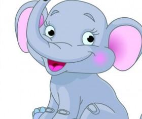 Baby elephant cute cartoon vector 01