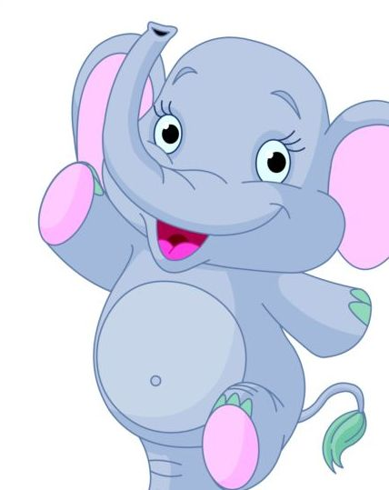 Baby Elephant Cute Cartoon Vector 02 Free Download